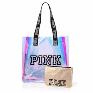 VS PINK Iridescent Clear Pink Gold Tote Bag Pouch